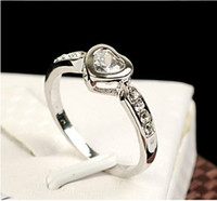 Wholesale Mini OL heart Ring Austria Crystal finger rings k rose gold plated fashion women jewelry