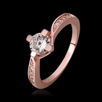 Wholesale 2014 New Christmas sale Rhinestones Studded Classic Wedding Ring K Rose gold Plated Made with Genuine Austrian Crystals Diamond
