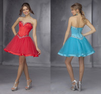 Reference Images Organza Sweetheart Fantastic Sky Blue Red Homecoming Dresses Crystals Sweetheart Corset Backless Lace-up Short Mini Beach Custom Made Prom Gowns 2015