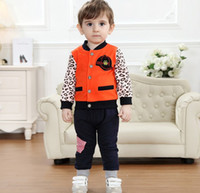 Wholesale High end back to school children s wear brand Autumn new kids clothing set orange cap leopard suit two piece boy suit set GX612
