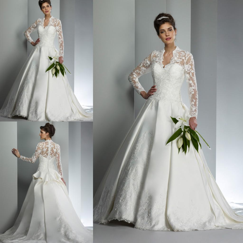 2014 New Arrival White A Line Wedding Dresses Elegant High