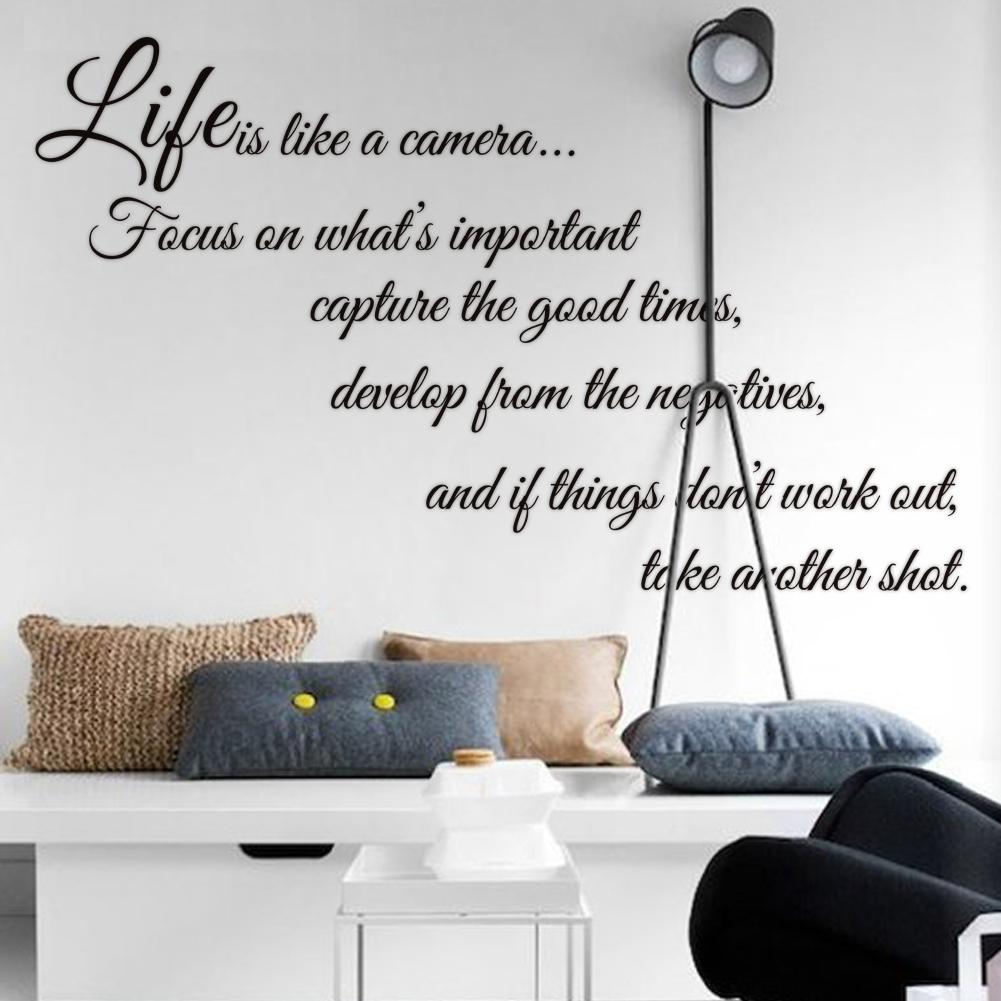 Amazing Life Is Like A Camera Quote Wall Stickers Decal Home Decor For Living Bed  Room Quote Wall Decals Wall Art Stickers Decorative Wall Decals Online With  ... Part 30