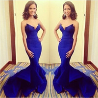 Wholesale 2015 New Style V Neck Royal Blue Evening Dress Satin Prom Gown Mermaid Sexy Evening Gown Custom Maternity Dresses
