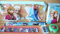 Wholesale New Product Sale Sets D Movie Cartoon Frozen Anna Elsa Stationery Set cute school pencil pencil sharpener eraser ruler stickers