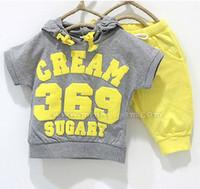 Girl Summer Short Wholesale 5 Sets summer girls boys cream 369 children clothing set baby clothes short-sleeve T-shirt hoodies pant kids suit Free Shipping