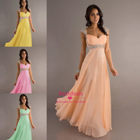2014 low price In Stock Empire Chiffon long prom dresses Cap...