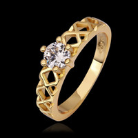genuine diamond ring - Elegant CZ Diamond Classic Crystal Wedding Ring K Rose Gold Plated Made with Genuine Austrian Crystals rings Christmas gift