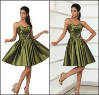 Reference Images Taffeta Strapless 2014 Taffeta Corset Short Army Olive Green Homecoming Dresses Strapless Shiny Beaded Sequins Crystals Bridal Party Cocktail Women Prom Gown