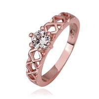 Solitaire Ring genuine diamond ring - Newest Christmas Sale CZ Diamond Classic Crystal Wedding Ring K Rose Gold Plated Made with Genuine Austrian Crystals rings