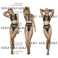 Cheap Women's Sexy Bikini Mesh fabric Steel Gathered Chest Swimsuit Swimwear