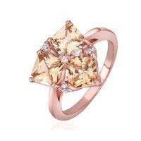 Wholesale New Fashion Jewelry K Rose Gold Plated Champagne Gemstone CZ Crystal Wedding Rings Swarovski element ring ring