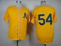 Baseball Men Short Oakland A's #54 Sonny Gray Yellow Cool Base Baseball Jerseys 2014 Season Newest Team Jersey High Quality Cheap Stitched Outdoor Jersey Sales