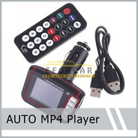 Wholesale 2X quot LCD Car MP4 MP3 Player Wireless FM Transmitter SD MMC card slot Infrared Remote Multi languages