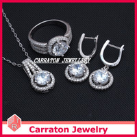 Wholesale Carraton Jewelry Store Real Solid Silver Jewelry Sets SSQD9021 Sterling Pure Silver Jewelry set with AAA CZ Stones Pendant Earrings Ring