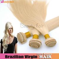 Brazilian Hair Straight machine Hot Remy Brazilian Virgin High Quality 6A Straight Hair Weave 4 Bundles Silky Soft Straight Hair Bulk 613 # Blonde 100% Real Human Hair Weft