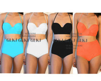 Polyester bandeau - Womens Vintage High Waisted bandeau Bikini Neon Color Swimwear Swimsuit S XXL DH04