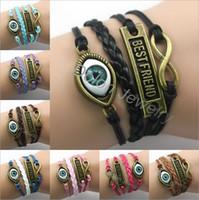 achat en gros de zinc bracelet en alliage de l'infini-Mixte de style en alliage de zinc à la main Charme Bracelet Combiné cordon en cuir multicolore Infinity Bracelet Globe oculaire 8 mots Amitié courage foi