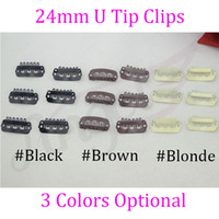 Wholesale mm U Tip Snap Clips for hair extensons metal clip in Hair Extensions Blonde Black Brown Colors Optional