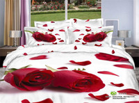 quilts - Romantic Red Rose Petal d bedding set queen size COTTON Floral print duvet quilt cover bed sheet bedclothes cotton home textile