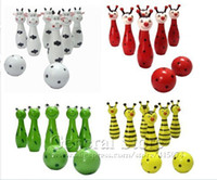 Wholesale Cute Wooden Animal Style Bowling Toy Frog Cow Bee and Ladybird design toy Bowling Balls Game407