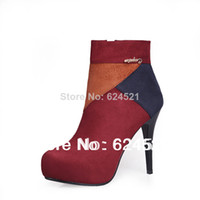 Half Boots Women PU Free shipping! ! 2014 autumn-summer fashion sexy spell color high-heeled naked boots Martin boots women pumps shoes 33-40 yards