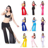 Ball Cap Red Woman Belly Dance Practice Gauze patchwork Uniforms Long Sleeve Tops + Thoracic Waist Gauze Skirt Tribal Pants Set 10 Colors BD-01550