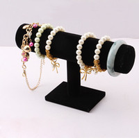 Wholesale Black Velvet Bracelet Chain Watch T Bar Rack Jewelry Hard Display Stand Holder