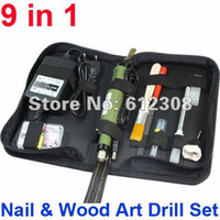 UV Gel Nail Art Set Yes Set & Kit Wholesale-1 set of 110V-240V AC Electric Wood Nail Drill Bit Set Variable Speed Rotary Detail Carving Tweezers Tool With Leather Case Bag407