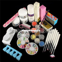 UV Gel Nail Art Set Yes Set & Kit Wholesale-Free Shipping Pro Full Acrylic Powder Liquid Glitter Strip French Nail Art Pen Brush File Glue UV Tip Kit Set407