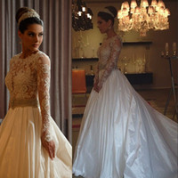 A-Line Reference Images Scoop Top Glamorous Full Lace Bodice Appliqued Scoop Sheer Long Sleeves Satin Skirt A-Line Wedding Dresses With Beaded Sash Sexy Cheap Bridal Gown