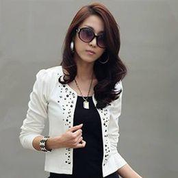 Wholesale 014 new fashion Two Colors Spring Autunm Women Basic Slim Fit suit Jacket Rivet Short design Long Sleeve Blazer coats SML
