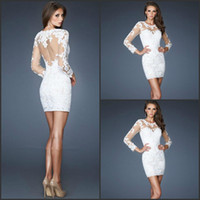 Wholesale 2014 Long Sleeves Lace About Knee Length Cocktail Dresses Sexy White Tulle Hollow Back Sheath Cocktail Gowns Short Formal Cocktail Dress