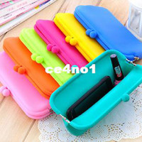 Coin Purses N/M Hasp Free Shipping Fashion Candy Silicone Phone Bag Coin Bag Purse Pencil Case Glasses Bag Cosmetic Bag Christmas Gift 50pcs Lot
