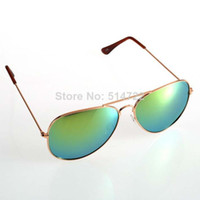 Wholesale 1pcs Fashion s Retro Style Blue Mirrored Aviator Sunglasses Unisex Mirror UV400 Lens Aviator Sunglasses