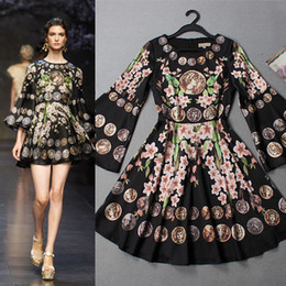 Wholesale 2014 New Arrival Women s O Neck Flare Sleeves Floral Printed A line Ruffles Runway Dresses