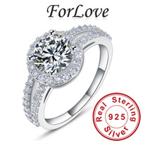 With Side Stones Women's Party ForLove 1.5 Ct Luxury CZ Diamond 925 Real Sterling Silver Rings for Women Wedding Engagement anel aneis de diamante 2014 R211