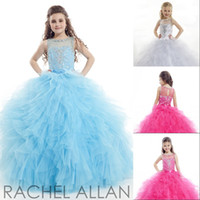 Wholesale Sparkle Rachel Allan Ball Gown Organza Beaded Crystal Sheer Crew Sweep Train Zipper Girls Pageant Dresses Flower Kids Wear
