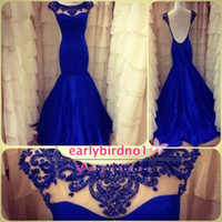 blue prom dresses - Actual Images Backless Prom Dresses Royal Blue Mermaid High Neck Beading See Through Formal Dress Evening Pageant Gowns BO5411
