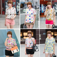 Women chiffon Round S-XXL Women Colorful style Chiffon blouse shirt lady fashion Batwing short sleeve Loose Blouse