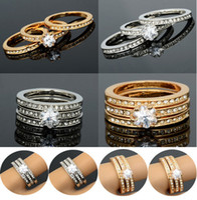 Wholesale Hot in Swarovski Crystal K CZ White Gold GP Engagement Wedding Band Ring GF01003 GF01004 M