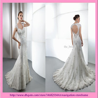 Wholesale 2013 Latest Hot Elegant Mermaid Sweetheart Backless Beaded Lace Court Train Wedding Dresses Bridal Gowns A1789