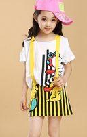 Girl Summer Short 2014 Summer Korean Kid's Leisure 2pcs Gallus Skirt Outfits Children Girls Lovely Cartoon Dogs Short Sleeve Tops + Striped Dress Sets J0652