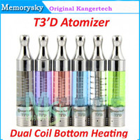 Wholesale 100 Original Kanger T3 D Kangertech T3D atomizer Clearomizer Replaceable Dual Coil Bottom Heating fit ego battery T3S atomizer