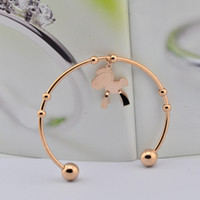 Link, Chain Titanium Female 2014 Year of the Horse Korea rose gold jewelry money immediately dimensional wooden bracelet bangle bracelet women jewelry