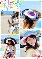 Sombrero colorido del verano de la señora caliente sombrero ULTRAVIOLETA del parasol de la playa del sombrero del sombrero del sombrero de paja plegable Sombreros anchos del borde