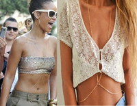 Belly Chains alloy swimwear - 2014 New Two Layers Gold Belly Button Rings Chain for Belly Sexy Body Chain Decor To Swimwear or Bikini Swimsuit GE10020
