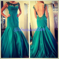 Reference Images Crew Satin Exclusive Popular Attractive Illusion Crew Open Back Backless Mermaid Long Peacock Satin Crystals Beaded Special Occasion Prom Dresses 2014