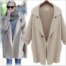 Wholesale Women Fashion Sweaters Solid Color Long Sleeve Turn Down Collar Thicken Loose Cardigan New