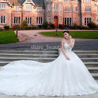 Wholesale 2014 Christmas Hot Sale Sexy Bridal gowns Sweetheart Lace Monarch Train Beaded Crystal Bow Appliques Romantic White Wedding Dresses