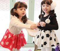Wholesale Korean Hot Spring Fall Children Dress Fashion Necklace Titoni Baby Girl Long Sleeve Princess Dresses Rose Red And Black Kids Dress GX622
